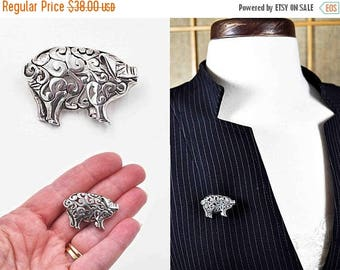 ON SALE Vintage Jezlaine Sterling Silver Pig Brooch, Pig Pin, Scroll, Cutout, Openwork, 3D,  Figural, Piggy, Animal, So Sweet! #c177