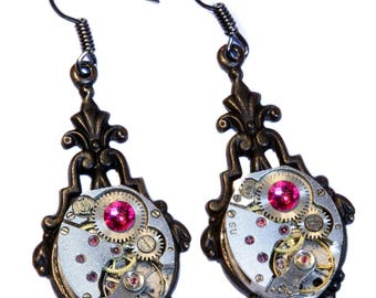 Steampunk Earrings - Fuchsia Swarovski Crystal