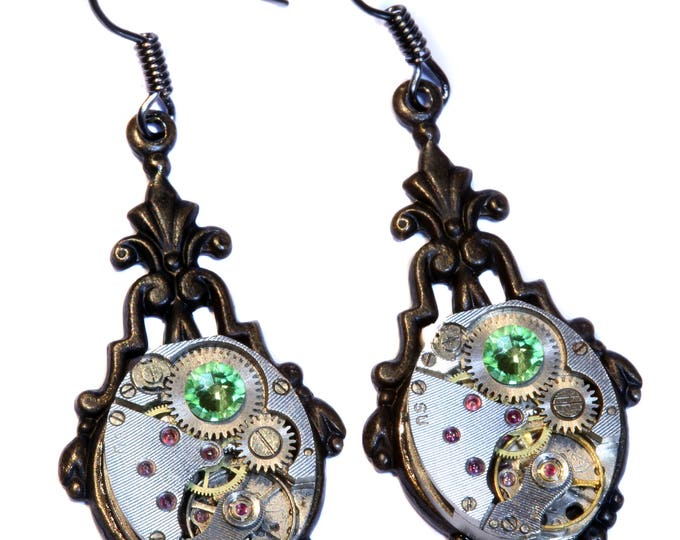 Steampunk Earrings - Peridot Green Swarovski Crystal - Antiqued black metal