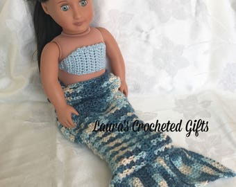 Doll Costume, Mermaid Princess Costume, Handmade Crochet Doll Clothes, Blue Mermaid Costume for 18 inch Doll, Mermaid Tail for Doll