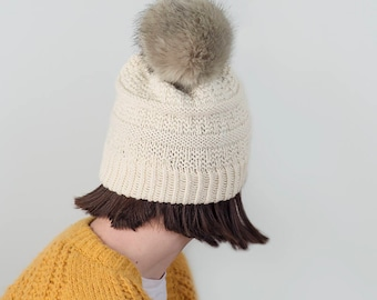 Knit Slouchy Beanie, Natural,  READY TO SHIP