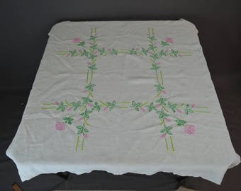 Vintage Embroidered Tablecloth, Small 39x39 inches, White Linen Pink Floral Card Table Cover