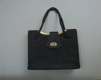 Vintage Black Fabric Purse 1950s 1960s, gold details