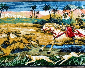 Vintage Middle Eastern Velvet Tapestry Wall Hanging Rug with Fringe - Desert Hunting - Men on Horseback - Blue Fringe