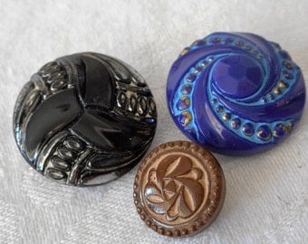 Lot of 3 VINTAGE Art Deco Glass BUTTONS