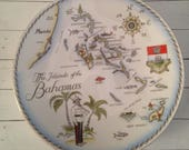 Vintage Souvenir Plate/Islands of the Bahamas/Royal Tuscan/Made in England/Wall Decor/Fine Bone China