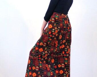 Elodie, 70s Mod Skirt M L, Velvet Maxi Skirt, Orange Floral Skirt, 1970s Printed Velvet Skirt, J Tiktiner for I Magnin, Vintage Skirt