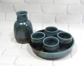 Whiskey Cups Set - Sake Set - Espresso Cups - Whiskey cups bottle and tray - Sake Bottle and cups - Barware set