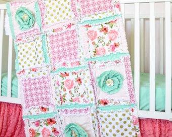 Floral Crib Bedding Baby Comforter - Coral / Gold / Mint Nursery Baby Girl Rag Quilt - Modern Crib Bedding - Boho Quilt - Princess Quilt