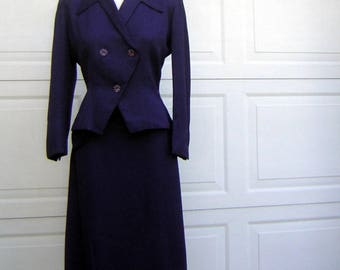 Vintage 40s NAVY BLUE Nip Waist Suit with Adrian Angles & High Waist Skirt - WWII Swing Era