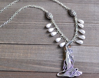 Silver Art Nouveau Goddess Necklace With White Pearl Teardrop Glass Beads Fringe Style Bohemian Pagan Spiritual