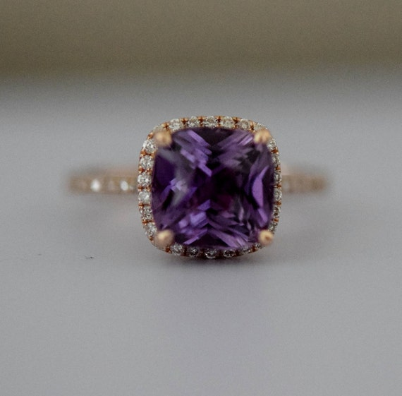Purple Sapphire Ring Rose Gold Engagement Ring 14k diamond ring Mauve Purple Violet Cushion Sapphire 3.25ct sapphire ring by Eidelprecious