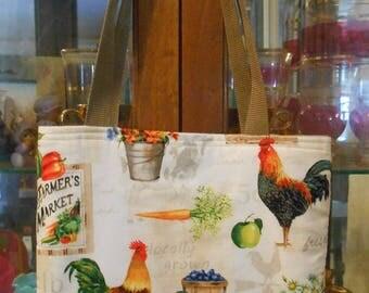 Farmer's Market Rooster Chicken Tote Bag Farm Barn Harvest Handmade Purse