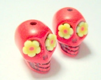 Red and Yellow Flower Eyes in Day of The Dead Sugar Skull Beads-12mm