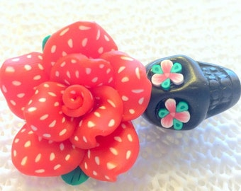 Black, Red, and White Polkadot Sugar Skull Rose Day of the Dead Pendant