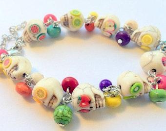 Day of the Dead Sugar Skull Adjustable Chain Bracelet Fruit Salad Bracelet
