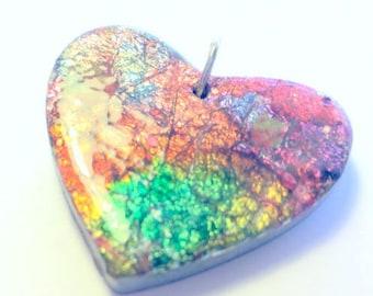 Handmade Polymer Clay Heart Pendant Silver Foil Tie Dye Heart Pendant