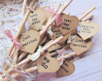 Just Married Paper Party Straws with Kraft Tags - Set of 18- Best Day Ever We Do Happily Ever AfterRustic Shabby Wedding Drink Vintage Style