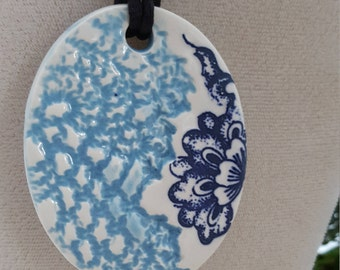 Blue Lace Embossed Ceramic Pendant