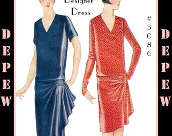 Vintage Sewing Pattern Reproduction Ladies' 1920's Worth Couture Dress #3086 - INSTANT DOWNLOAD