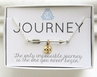 Graduation Gift • Arrow and Compass Necklace • Journey Necklace • College Graduation • Class of 2018 • Student Gift • Gift for • J01