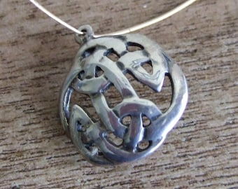 Celtic Knot Pendant or charm - Sterling Silver - 14mm round