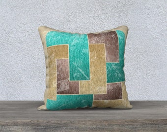 Worn Effect 1970s Velveteen Throw Pillow Cover Gold Brown Teal