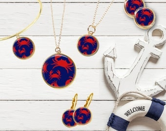 Crab Jewelry, Preppy Crab, Crab Earrings, Crab Necklace, Crab Bracelet, Red, Navy, Maine, New England