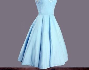 1950's Baby Blue Strapless Full Skirt Vintage Dress - RARE