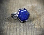 MADE TO ORDER in your size - Bright Blue Hexagon Lapis Lazuli - Sterling Cocktail Ring