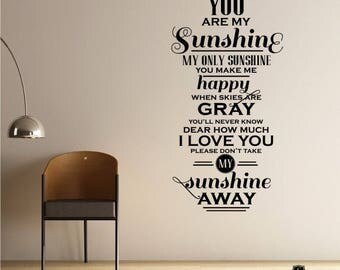 You Are My Sunshine Wall Quote Decal - Vinyl Word Art Custom Home Decor