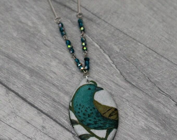 Large Bird Statement Necklace, Blue Bird Pendant, Woodland, Animal Necklace