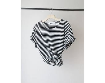 1990s Oversized Striped T Shirt