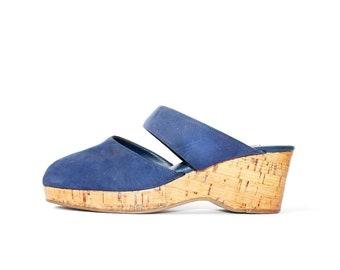 1970s Laverder Peep Toe Platforms Slides Sandals