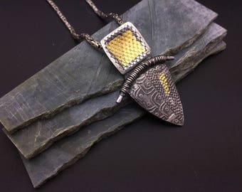 Silver and gold Keum Boo tribal pendant, triangle, square