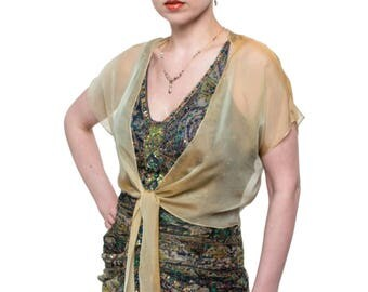 Promo Sale: Promo Sale - Antique Gold Evening Silk Chiffon Shrug GALA. 2 Styles. 100% silk. Sizes XS - 2X