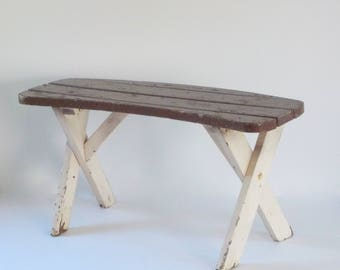 Vintage Outdoor Bench • Wood Patio Furniture • Picnic Bench