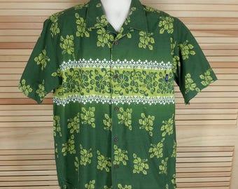 Vintage Gotcha Hawaiian print shirt tiki hibiscus green loop & button at neck aloha shirt size L large chest 52 xl