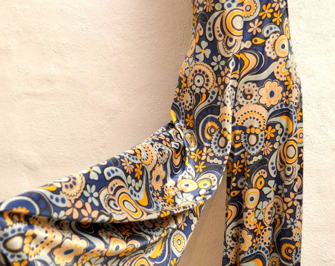 Peace n Love JUMPSUIT All in One Flower Power MONO with a PSYCHEDELIC Pattern in Classic 1970's Blue and Orange