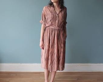 vintage silk skirt set | silk blouse silk skirt | animal print 1990s small