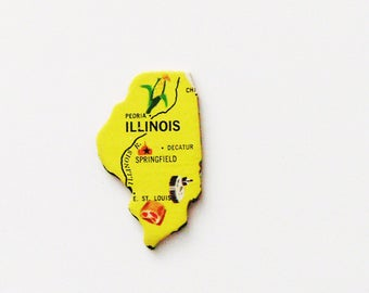 1961 Illinois Brooch - Pin / Unique Wearable History Gift Idea / Upcycled Vintage Wood Jewelry / Timeless Gift Under 25