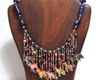 Tribal Bib Statement Necklace/ Animal Fetishes and Venetian Glass Beads/ Vintage Folk Art Boho Jewelry