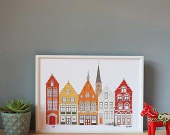 Bruges Print A4 - Bruges Skyline - Bruges Engagement Gift - Bruges Landmarks Print - Architecture Drawing - Gift for Him