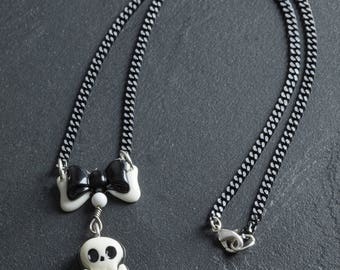 """60% OFF SALE Skull and Crossbones with Bow White and Black Pirate Necklace 18"""" with Japanese Plastic Cabs on Black Chain Goth Loli Jewelry"""