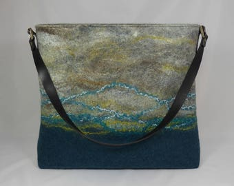 Felt Shoulder Bag, Felt Handbag, Felt Purse, Shoulder Bag, Tote Bag, Slouchy Bag, Felted Bags, Felt Bag, Grey Wool Felt Bag, Teal Felted Bag