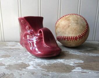 Vintage pottery baby shoe booty planter wine dark red small vase Nursery novelty planter Unmarked