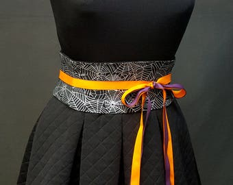 Black and Silver Halloween Spiderwebs Corset Mini Obi Waist Cincher Sash Any Size