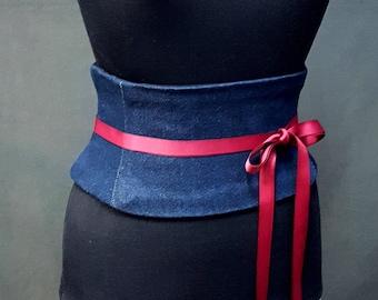 Indigo Denim Cotton Corset Waist Cincher Obi Belt