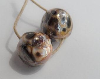 Lampwork Beads, Handmade Glass Beads, Golden Brown