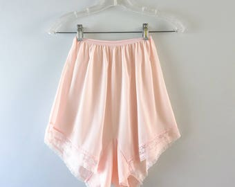 Vintage Pink Panties | 1960s  Pink Nylon Panties Lace Insets Size 6
